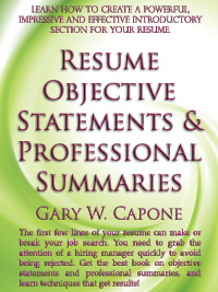 resume objective statements and professional summaries front cover